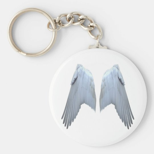 Angel Wings Basic Round Button Keychain