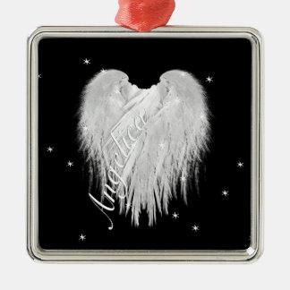 ANGEL WINGS 'Believe' Heart Black Starry Metal Ornament