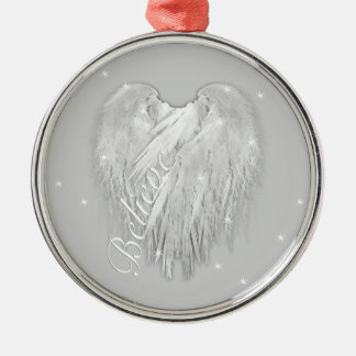 ANGEL WINGS 'Believe' Heart Starry Sparkle Metal Ornament