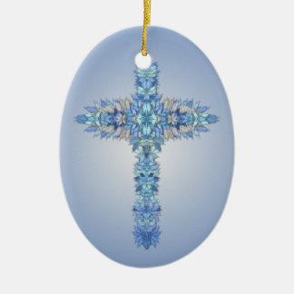 Angel Wings Cross Ceramic Ornament