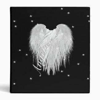 ANGEL WINGS Heart Black Starry 3 Ring Binder