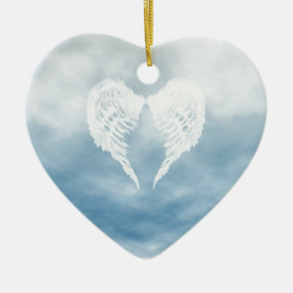 Angel Wings in Cloudy Blue Sky Ceramic Ornament