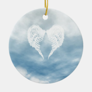Angel Wings in Cloudy Blue Sky Round Ceramic Ornament