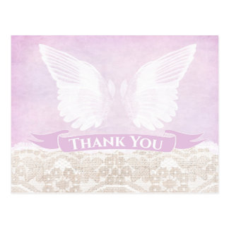 angel wings postcard, angel thank you note postcard
