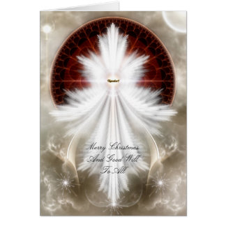 Angel Wings Snowflake Fractal Art Card