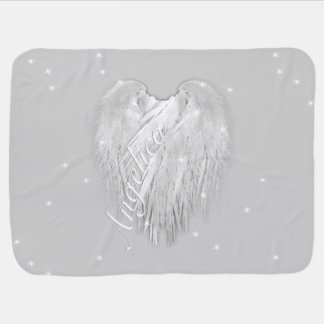 ANGEL WINGS Sparkle Heart Baby Blanket