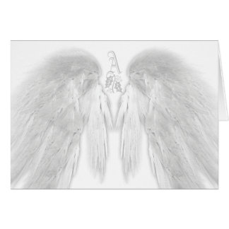 ANGEL WINGS White Heavenly Holiday Monogram Card