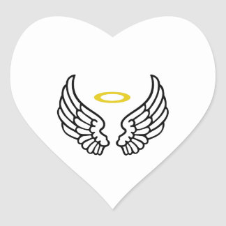 ANGEL WINGS WITH HALO HEART STICKER