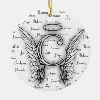 Angel Wings with Positive Words Monogram C Round Ceramic Ornament