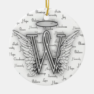 Angel Wings with Positive Words Monogram W Round Ceramic Ornament