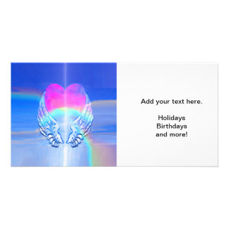 Angel Wings Wrapped Around a Heart Photo Cards