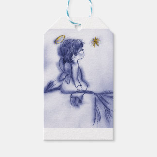 Angel Wishing On A Star - Blue Tint Gift Tags