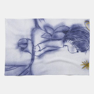 Angel Wishing On A Star - Blue Tint Kitchen Towel