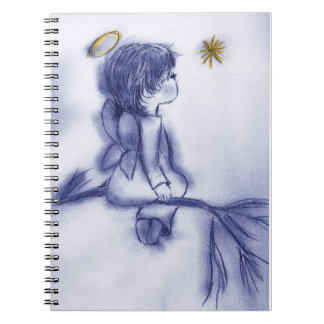 Angel Wishing On A Star - Blue Tint Notebooks