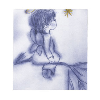 Angel Wishing On A Star - Blue Tint Notepad