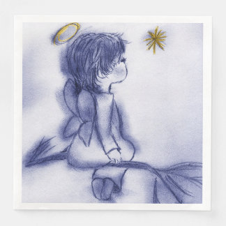 Angel Wishing On A Star - Blue Tint Paper Napkin