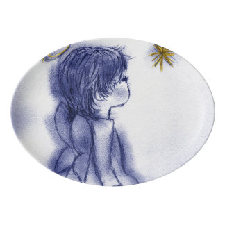 Angel Wishing On A Star - Blue Tint Porcelain Serving Platter
