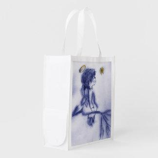 Angel Wishing On A Star - Blue Tint Reusable Grocery Bag