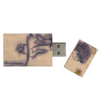 Angel Wishing On A Star - Blue Tint Wood USB Flash Drive