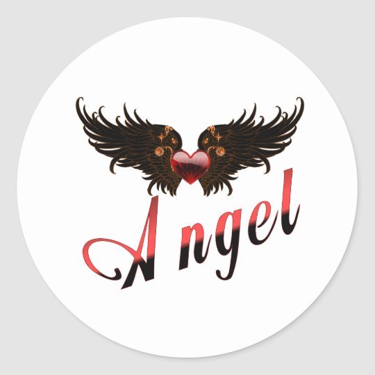 Angel - With Angel Wings Design Classic Round Sticker