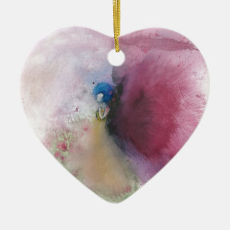 Angel with Blue Hair Ceramic Heart Ornament