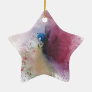 Angel with Blue Hair Ceramic Star Ornament
