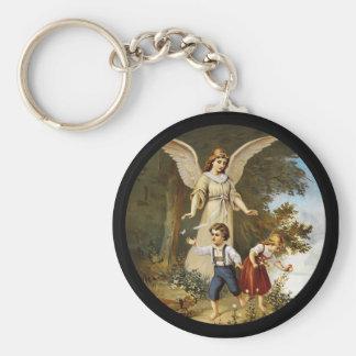 Angel with Children on a Cliff Basic Round Button Keychain