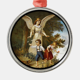 Angel with Children on a Cliff Metal Ornament