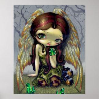 Angel with Emeralds ART PRINT big eyed angel