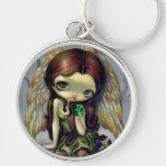 """Angel with Emeralds"" Keychain"