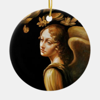Angel with Golden Leaves Ceramic Ornament