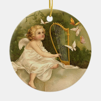 Angel with Harp and Butterflies Ceramic Ornament