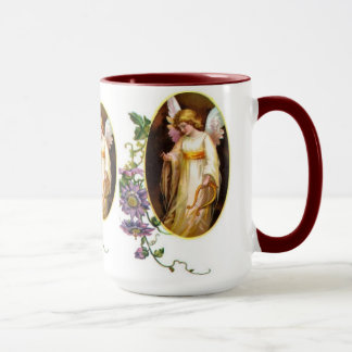 Angel With Harp And Clematis Flowers Mug