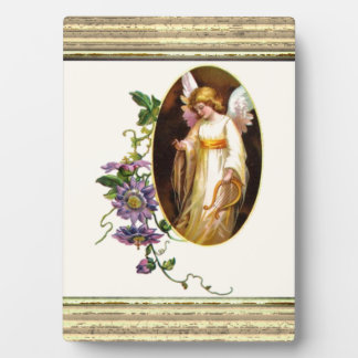 Angel With Harp And Clematis Flowers Plaque