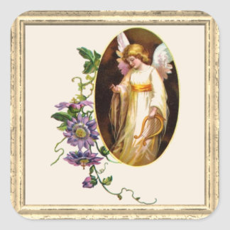 Angel With Harp And Clematis Flowers Square Sticker