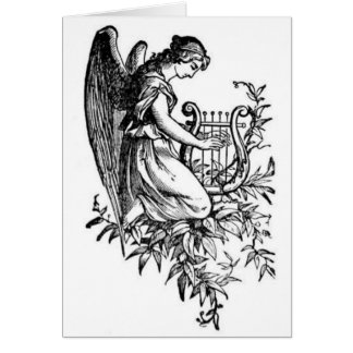 Angel With Harp And Flora Card