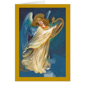Angel with Harp Christmas Card