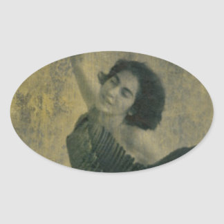 Angel with Harp Oval Sticker