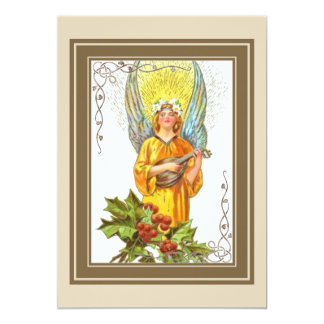 Angel With holly And Mandolin Card