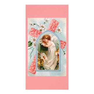 Angel with pink cross photo card