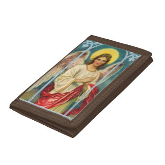 Angel With Pink Ribbon Tri-fold Wallets