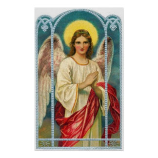 Angel With Pink Ribbon Triptych Poster