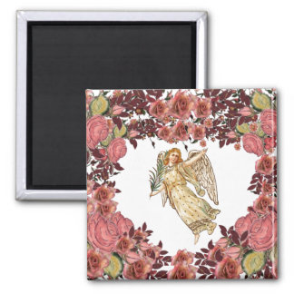 Angel With Pink Roses Square Magnet