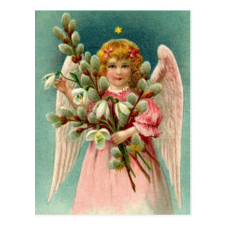 Angel With Pretty Pink Dress Postcard