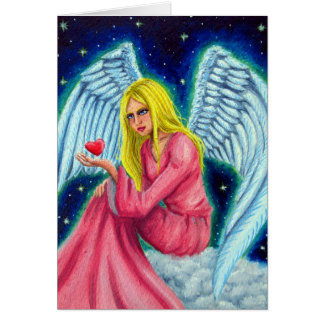 Angel with sweet hearts in the hand card