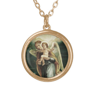 Angel With The Baby Jesus Gold Plated Necklace