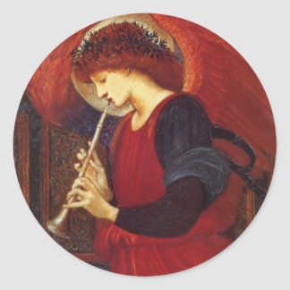 Angel with Trumpet, Burne Jones Classic Round Sticker