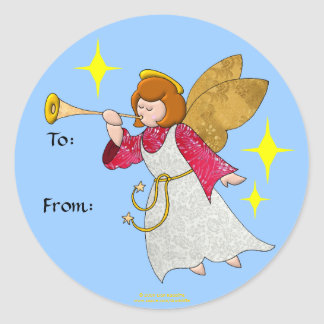 Angel With Trumpet Holiday Gift Tags