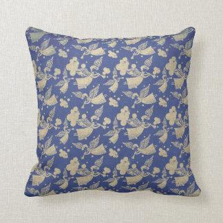 Angel with Trumpet - pattern - indigo cushion
