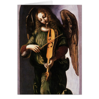 Angel with Vielle by Leonardo da Vinci Christmas Card